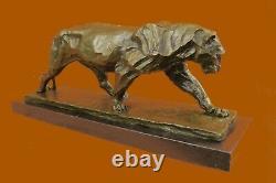 Véritable Bronze Métal Statue Sur Marbre Base Femelle Lion Sculpture Art Déco