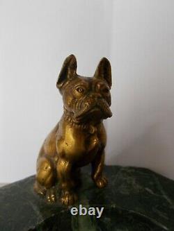 Vide poche art deco sculpture en bronze 1930 bouledogue francais chien statue