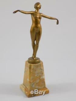 Vintage Art Nouveau Bronze Sculpture Schmidt-Felling Nu Nu Danseuse 20. JHD