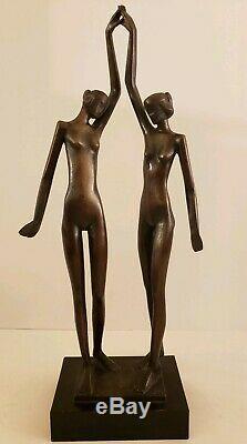 Vintage Bronze Chair Figuratif Moderniste mi Siècle Signée Art Sculpture Statue