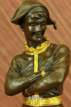 Vintage Style Art Déco Dancing Harlequin Bouffon Ancien Bronze Sculpture Statue