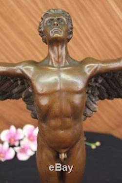 Winged Homme Nu Icare Rising Sun Art Bronze Sculpture Statue Figurine Figurine T